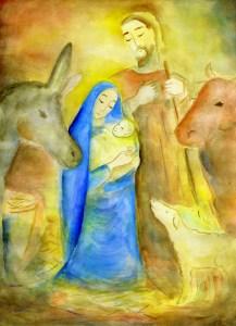 Gemaltes Bild der Geburt Jesu in der Krippe