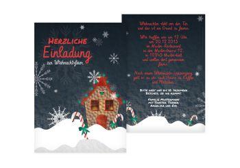 Weihnachtskarten Einladung.Einladung Häuschen